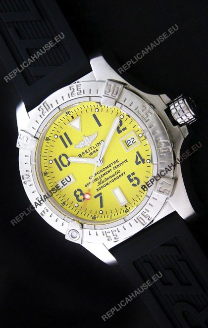 Breitling Seawolf Swiss Automatic Watch in Yellow Dial