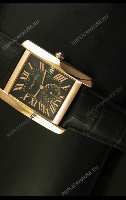 Cartier Tank Anglaise Japanese Replica Watch 34MM - Black Dial Pink Gold