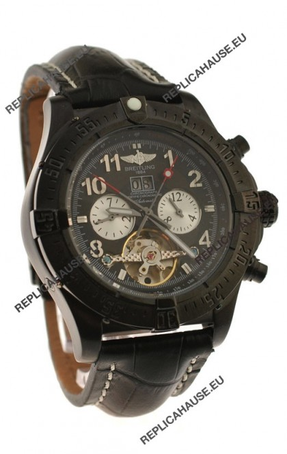 Breitling Chronometre Tourbillon Japanese Replica Watch in Black Dial