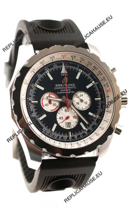 Breitling Chrono-Matic Chronometre Japanese Replica Watch in Black Dial