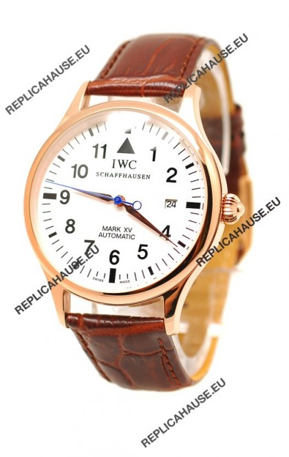 IWC Portugese Automatic Gold Replica Watch in White Dial