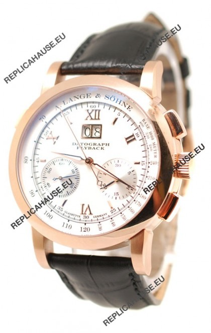 A.Lange & Sohne Datograph Flyback Swiss Replica Rose Gold Watch in White Dial