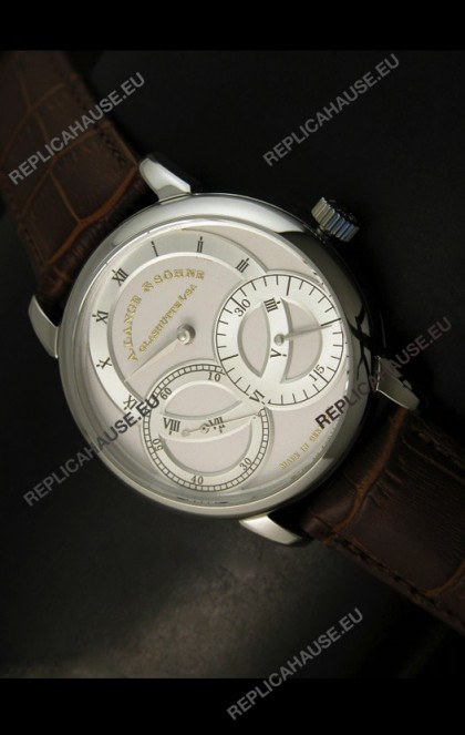 A.Lange & Sohne Dual Sub Dials Japanese Watch Brown Strap