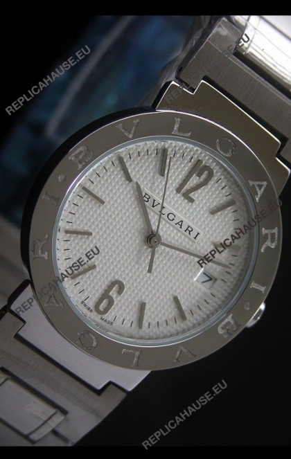 Bvlgari Diagono Japanese Replica Quartz Watch in White Dial