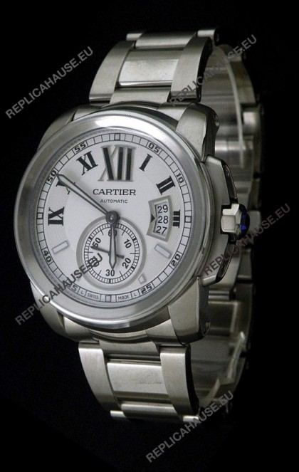 Cartier Calibre de Japanese Replica Steel Watch in White Dial