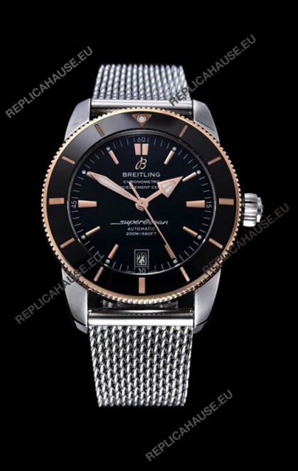 Breitling SuperOcean Heritage II 44MM Black Dial Two Tone 904L Steel 1:1 Mirror Replica