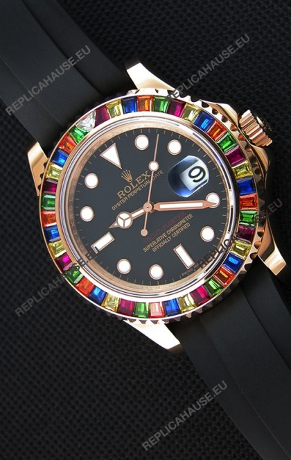 Rolex Yachtmaster 116695 Everose Gold Diamonds  1:1 Ultimate Mirror Replica Watch