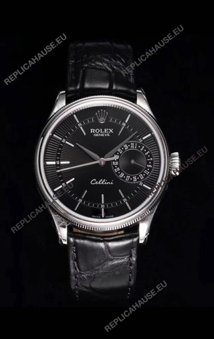 Rolex Cellini Date Ref#50519 Replica 1:1 Mirror 904L Steel Watch Black Dial