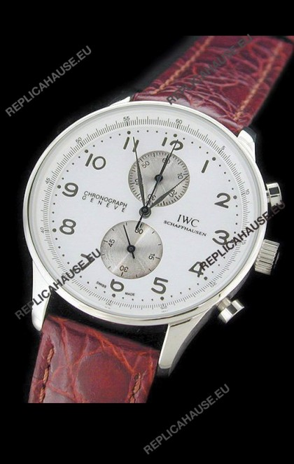 IWC Schaffhausen Japanese Replica Watch in White Dial