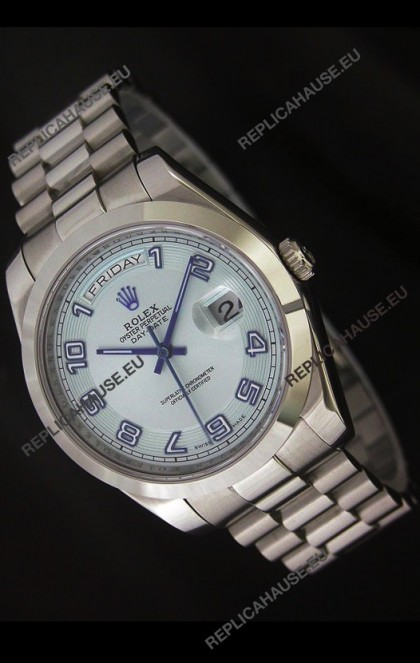 Rolex Day Date Japanese Replica Steel Watch in White Dial