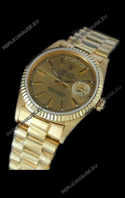 Rolex Replica Day Date Japanese Mens Gold Watch