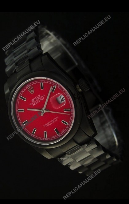 Rolex Datejust SwissReplica PVD Watch in Red Dial