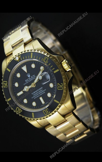 RolexSubmariner Swiss Gold Watch in Black Dial with Ceramic Bezel