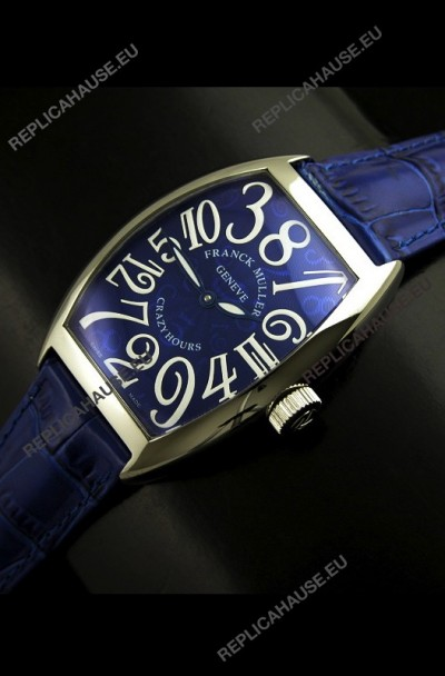 Franck Muller Crazy Hours Japanese Replica Watch in Blue Dial