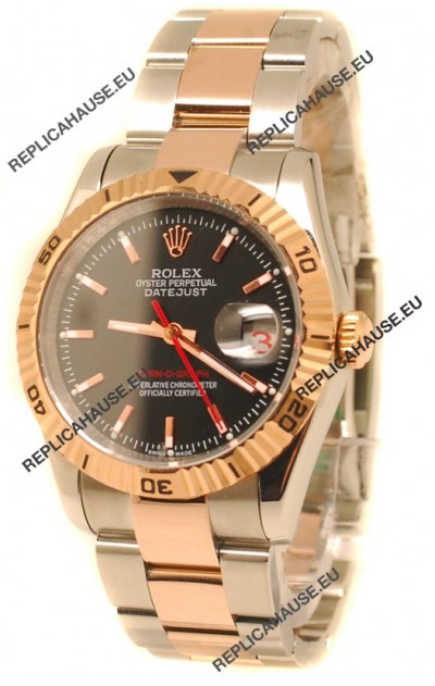 Rolex Datejust Turn O Graph Swiss Rose Gold Watch in Black Dial