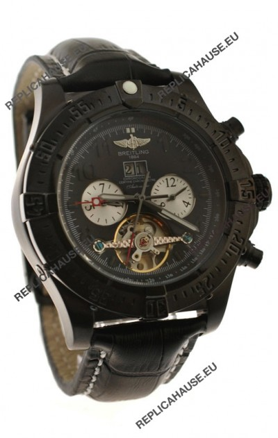 Breitling Chronometre Tourbillon Japanese Replica Watch in Black