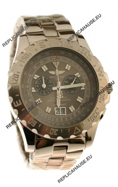 Breitling Chronograph Chronometre Japanese Watch in Grey Dial
