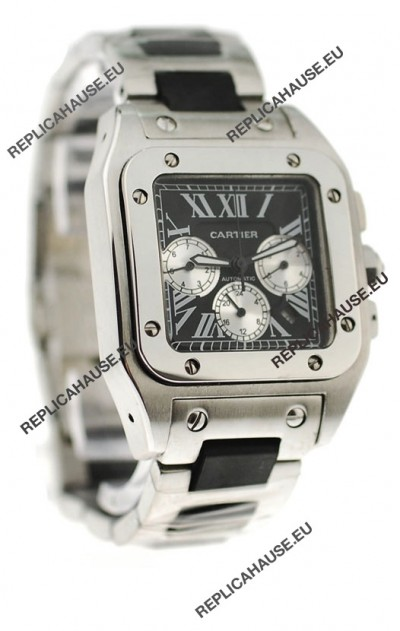 Cartier Santos 100 Japanese Replica Watch in Black Dial