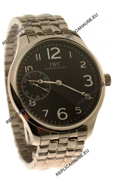 IWC Portugese Automatic Japanese Replica Watch in Black Dial