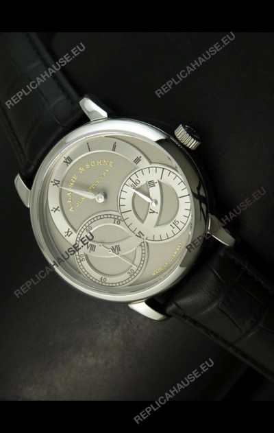 A.Lange & Sohne Dual Sub Dials Japanese Watch Black Strap