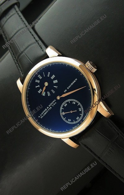 A.Lange & Sohne Cortes de Geneve Decorative Bridges Classic Replica Rose Gold Watch in Black Dial