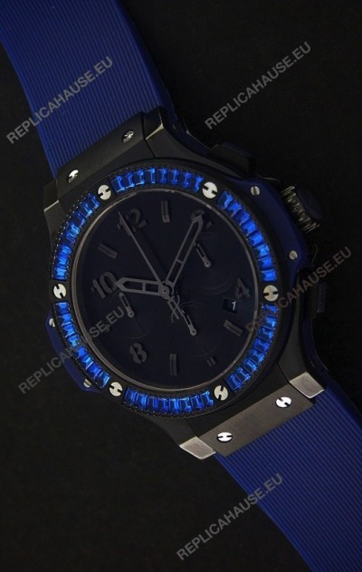 Hublot Big Bang Limited Edition All Black in Blue Dial