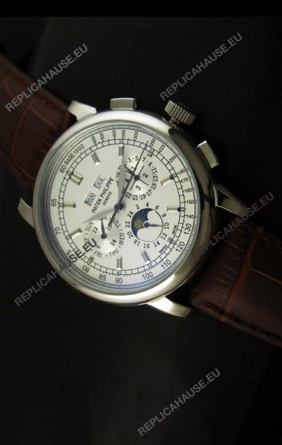 Patek Philippe Complications Japanese Replica Watch in White Dial